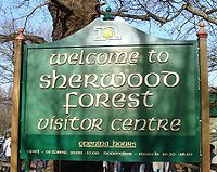 Sherwood Forest Visitor Centre sign